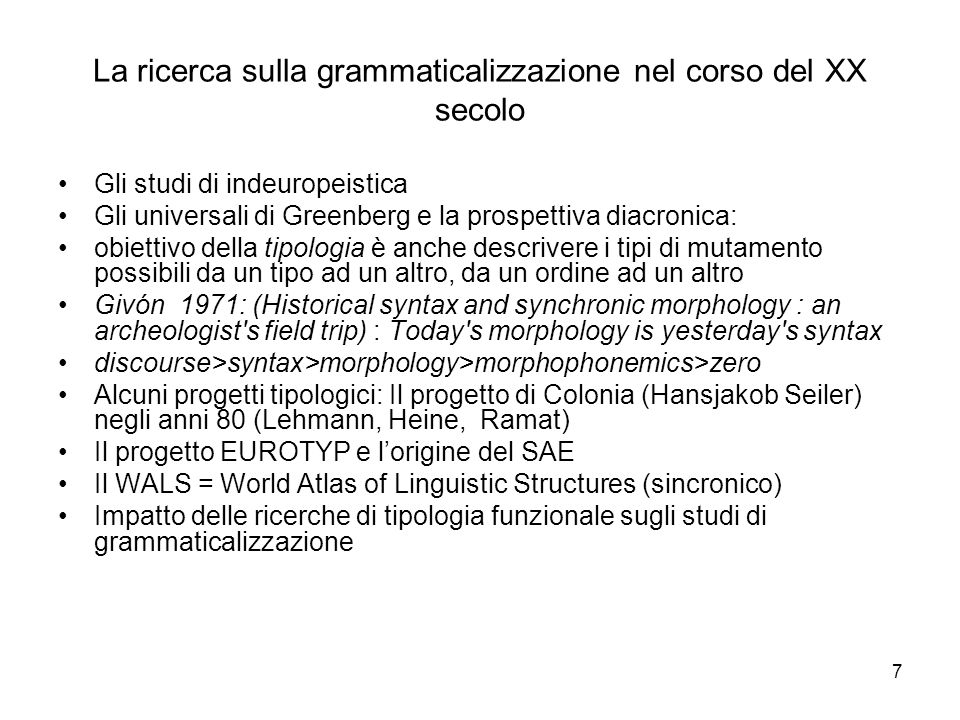 La ricerca sulla grammaticalizzazione nel corso del XX secolo