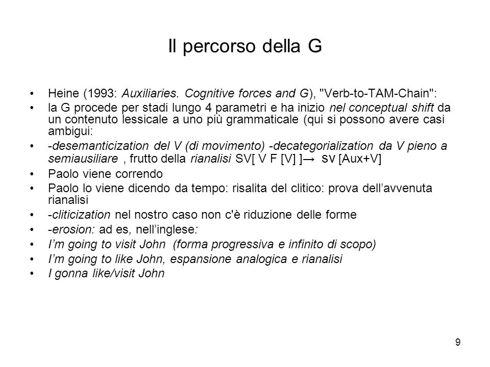 Il percorso della G Heine (1993: Auxiliaries. Cognitive forces and G), Verb-to-TAM-Chain :