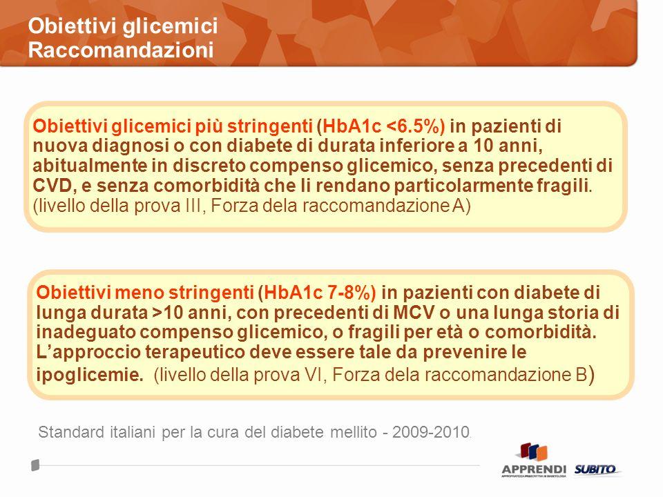 Obiettivi glicemici Raccomandazioni