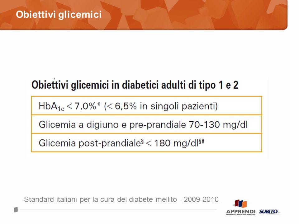 Obiettivi glicemici Standard italiani per la cura del diabete mellito - 2009-2010.