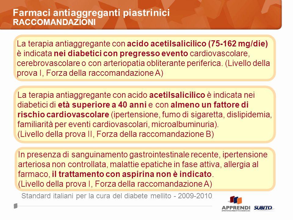Farmaci antiaggreganti piastrinici RACCOMANDAZIONI