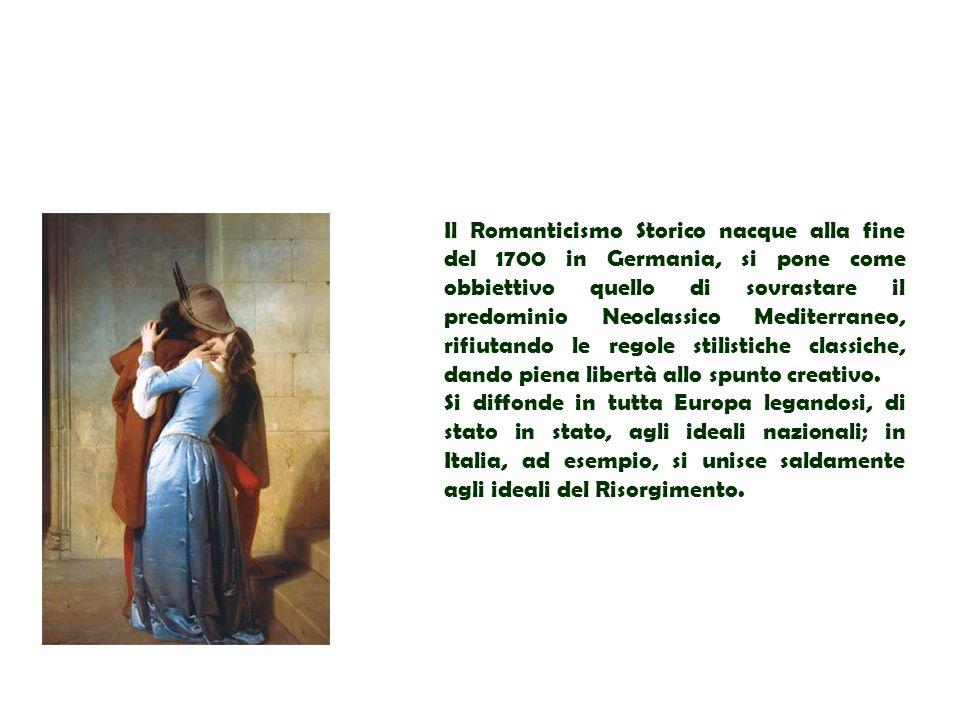 Il Romanticismo Storico nacque alla fine del 1700 in Germania, si pone come obbiettivo quello di sovrastare il predominio Neoclassico Mediterraneo, rifiutando le regole stilistiche classiche, dando piena libertà allo spunto creativo.