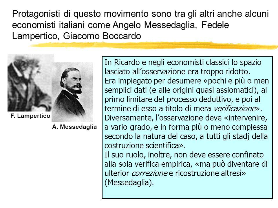 Protagonisti di questo movimento sono tra gli altri anche alcuni economisti italiani come Angelo Messedaglia, Fedele Lampertico, Giacomo Boccardo