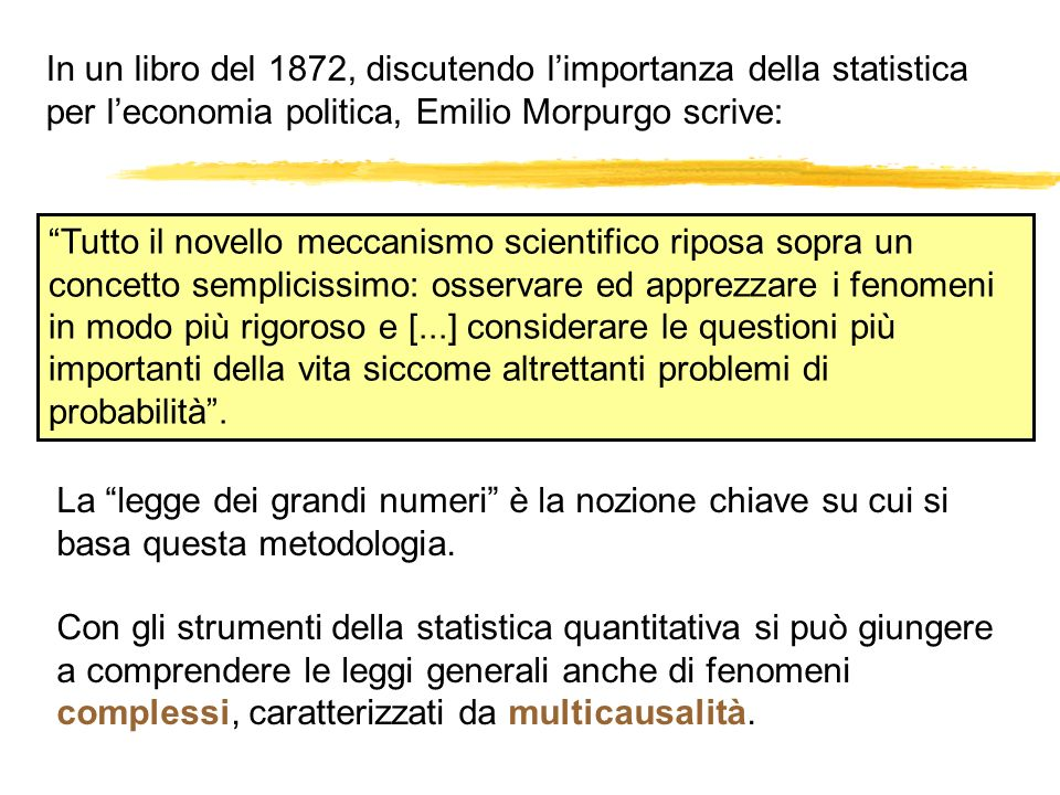 In un libro del 1872, discutendo l'importanza della statistica per l'economia politica, Emilio Morpurgo scrive: