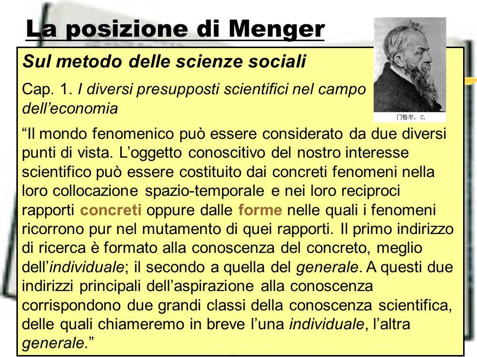La posizione di Menger Sul metodo delle scienze sociali