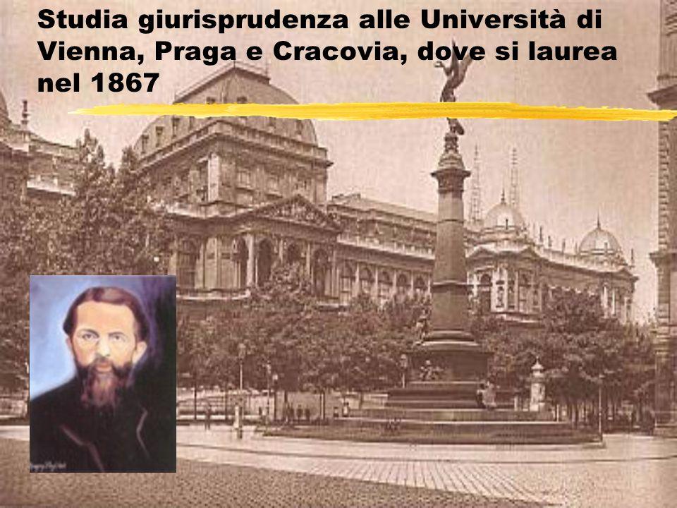 Studia giurisprudenza alle Università di Vienna, Praga e Cracovia, dove si laurea nel 1867