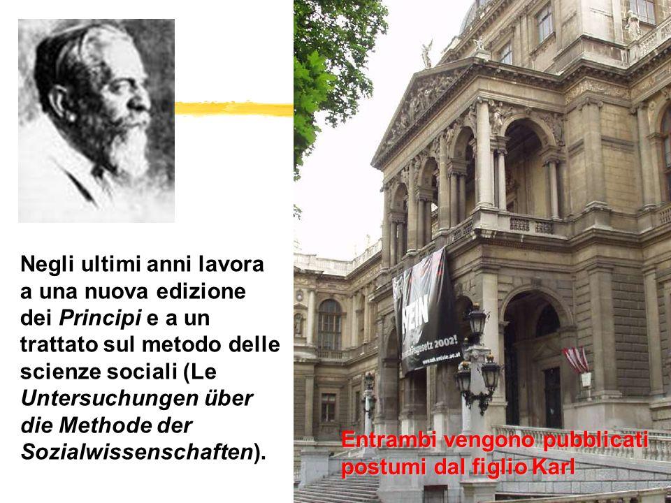 Negli ultimi anni lavora a una nuova edizione dei Principi e a un trattato sul metodo delle scienze sociali (Le Untersuchungen über die Methode der Sozialwissenschaften).