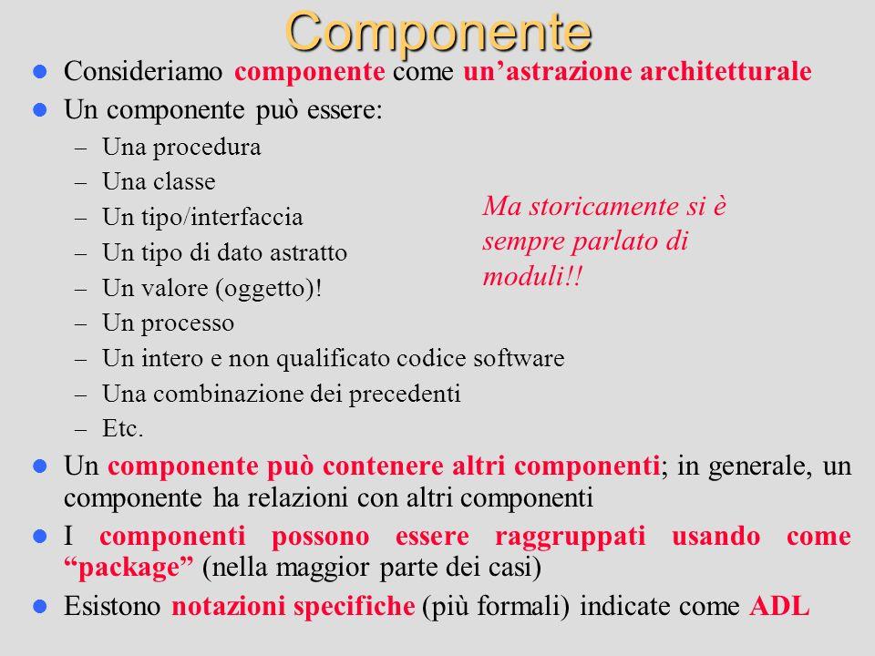 Componente Consideriamo componente come un'astrazione architetturale