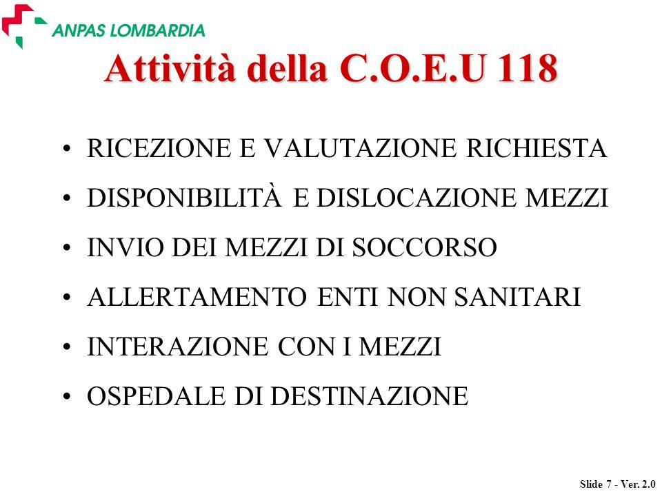Attività della C.O.E.U 118 RICEZIONE E VALUTAZIONE RICHIESTA