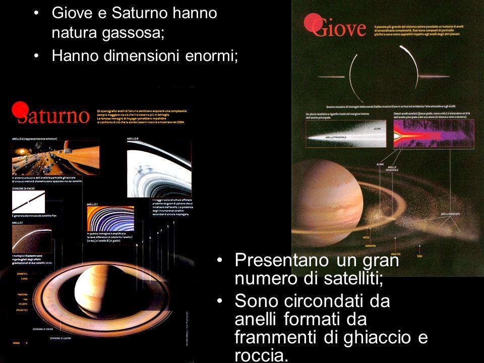Presentano un gran numero di satelliti;