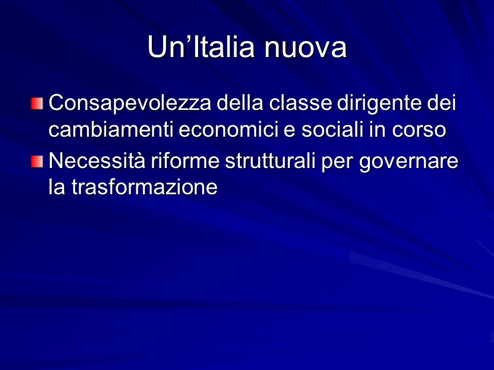Un'Italia nuova Consapevolezza della classe dirigente dei cambiamenti economici e sociali in corso.