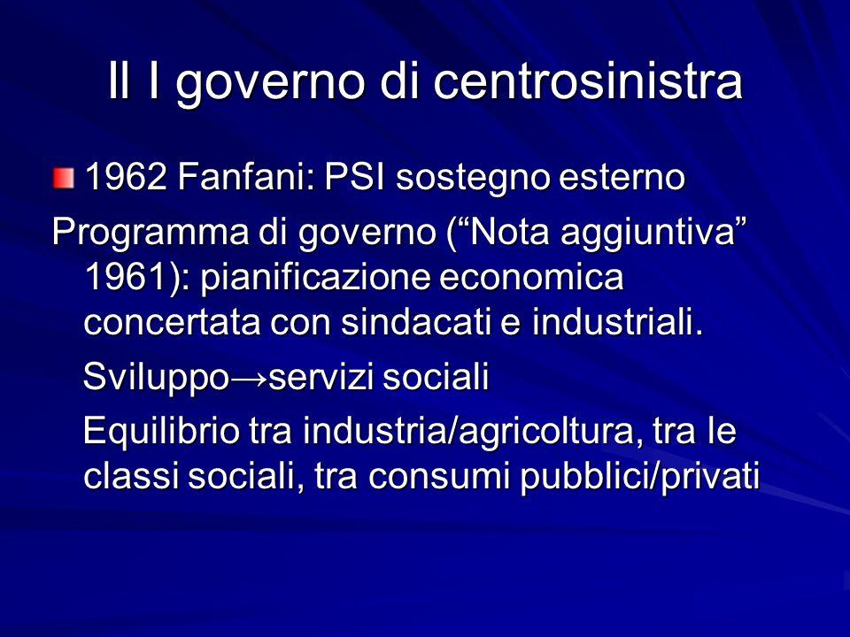 Il I governo di centrosinistra