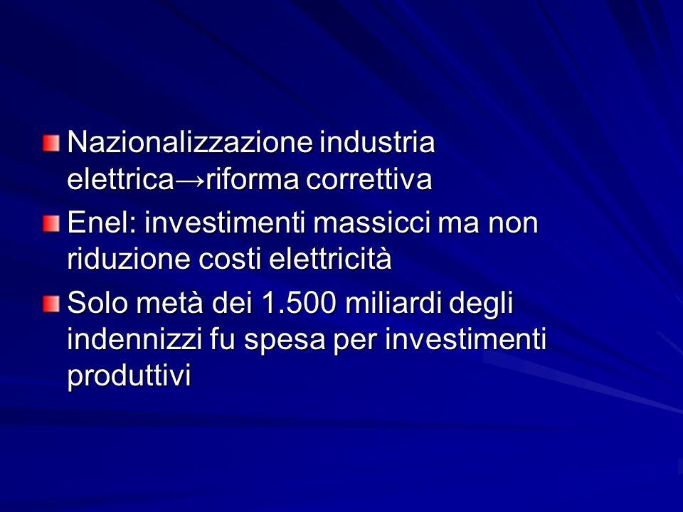 Nazionalizzazione industria elettrica→riforma correttiva