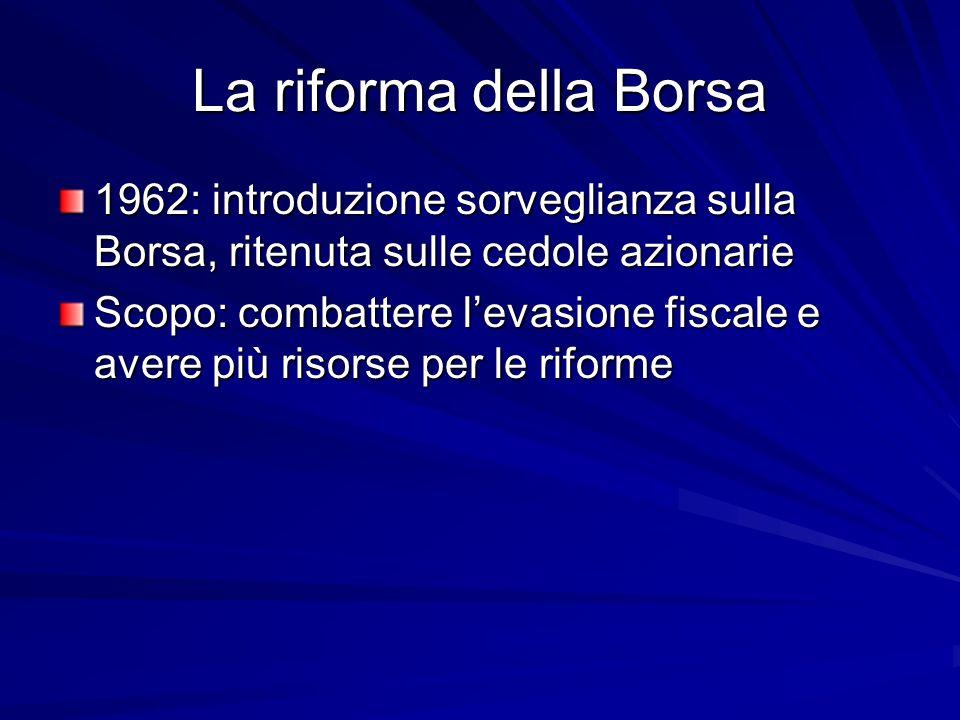 La riforma della Borsa 1962: introduzione sorveglianza sulla Borsa, ritenuta sulle cedole azionarie.