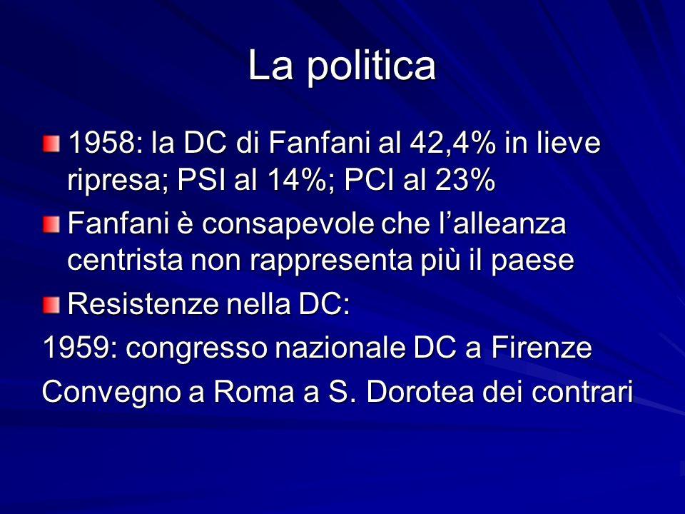 La politica 1958: la DC di Fanfani al 42,4% in lieve ripresa; PSI al 14%; PCI al 23%