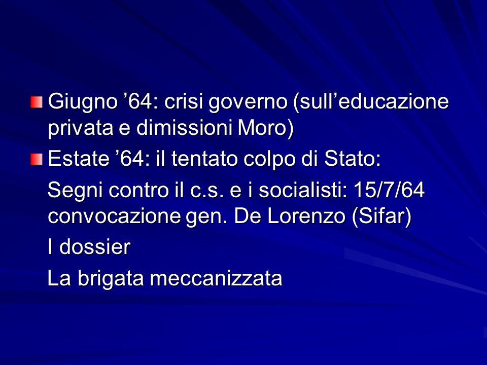 Giugno '64: crisi governo (sull'educazione privata e dimissioni Moro)