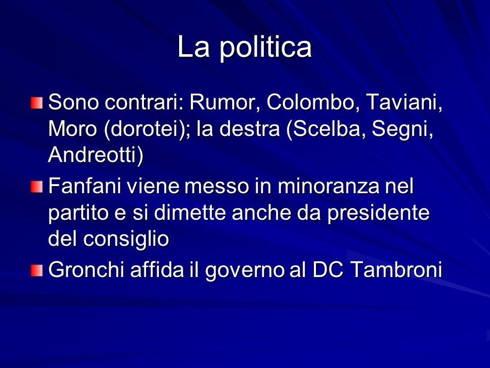 La politica Sono contrari: Rumor, Colombo, Taviani, Moro (dorotei); la destra (Scelba, Segni, Andreotti)