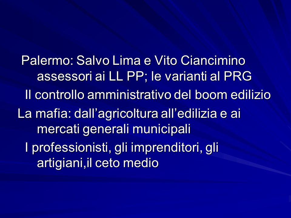 Palermo: Salvo Lima e Vito Ciancimino assessori ai LL PP; le varianti al PRG