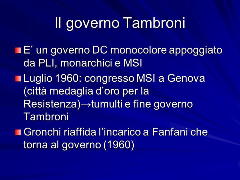 Il governo Tambroni E' un governo DC monocolore appoggiato da PLI, monarchici e MSI.