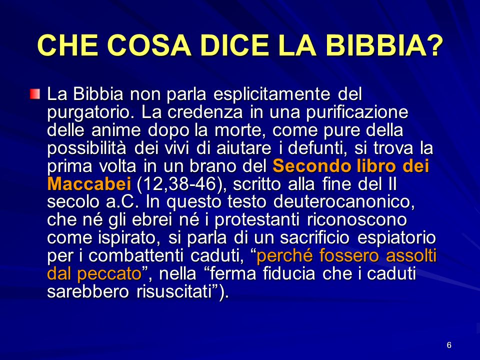 CHE COSA DICE LA BIBBIA
