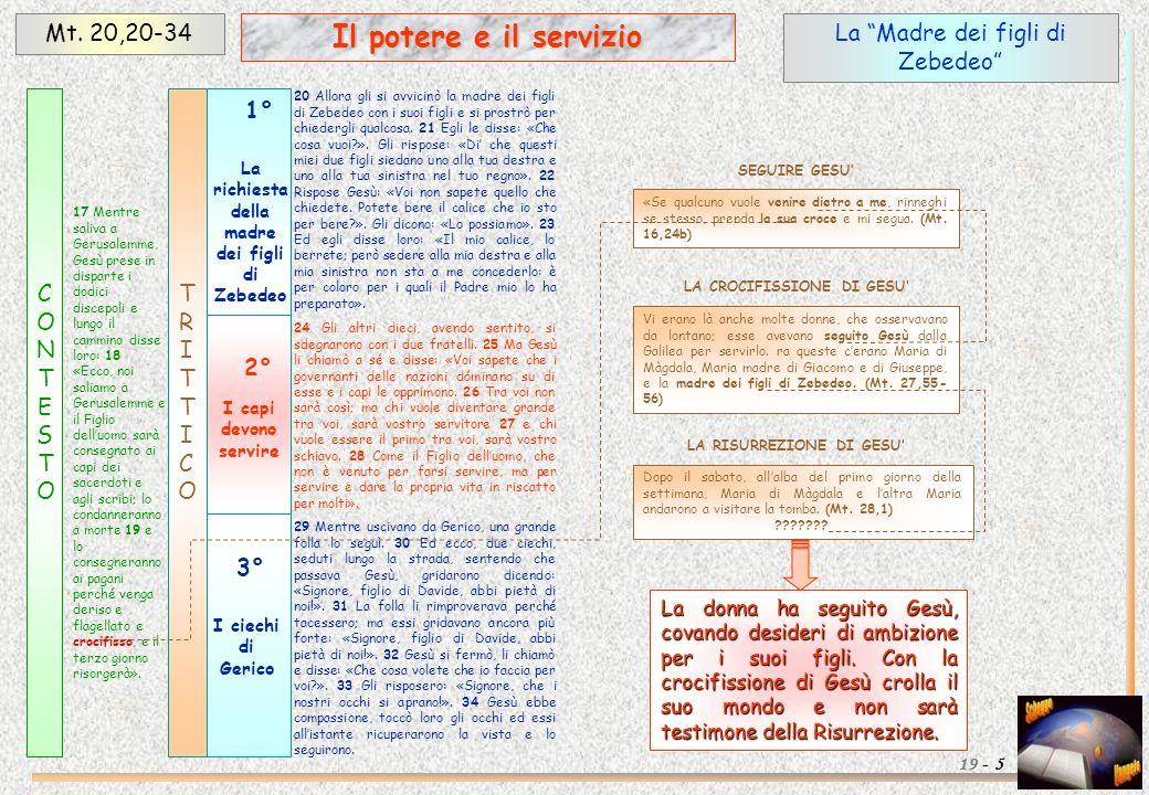 Il potere e il servizio Mt. 20,20-34 La Madre dei figli di Zebedeo
