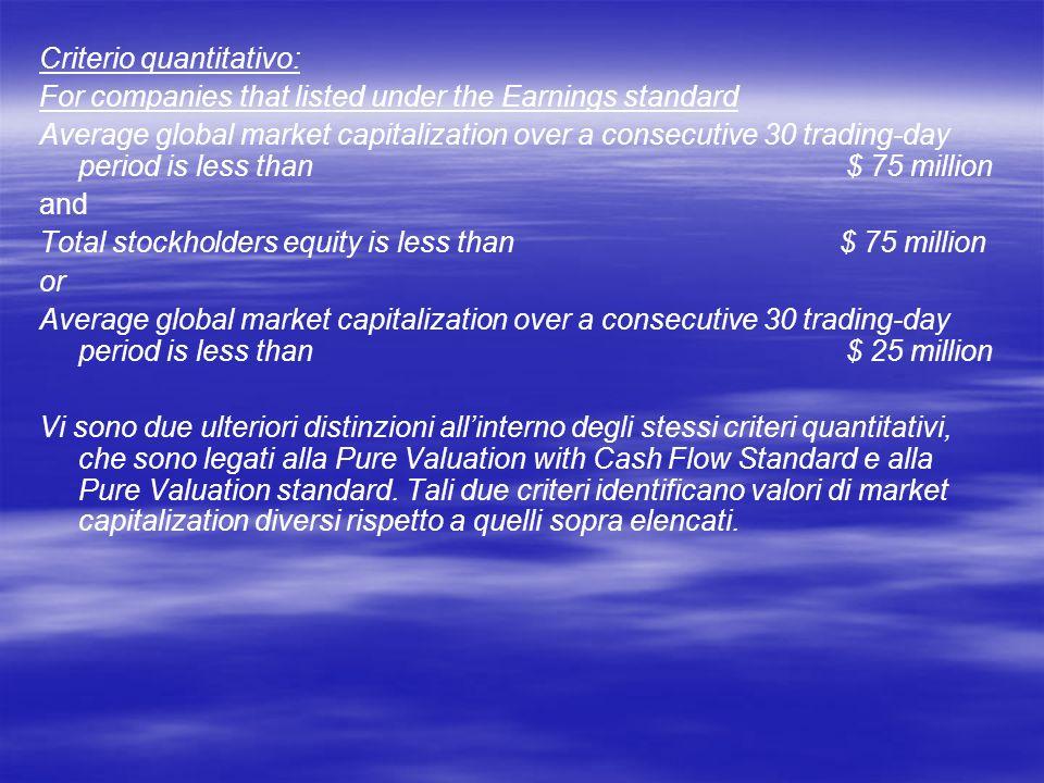 Criterio quantitativo: