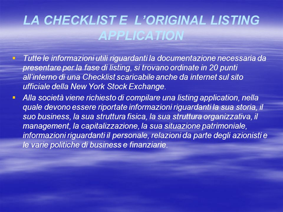 LA CHECKLIST E L'ORIGINAL LISTING APPLICATION