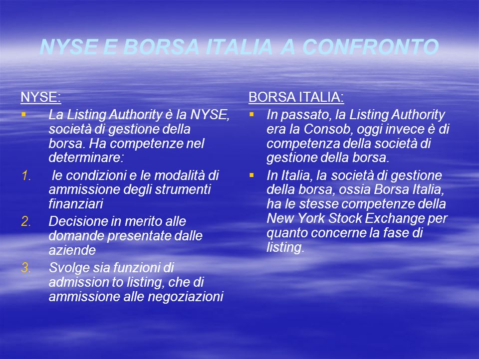NYSE E BORSA ITALIA A CONFRONTO