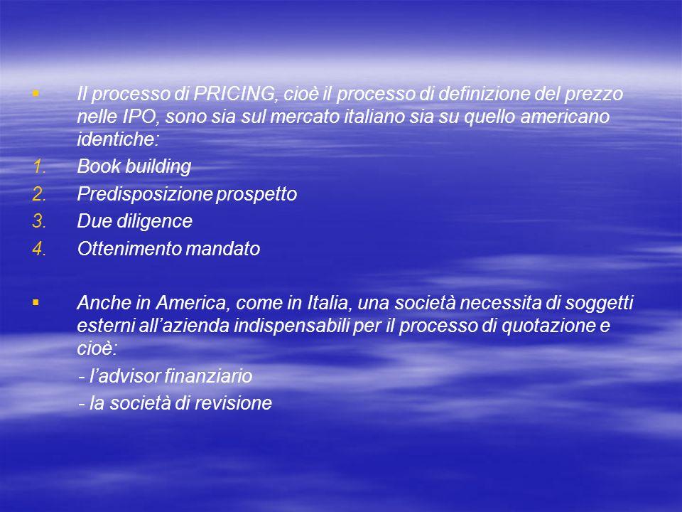 Il processo di PRICING, cioè il processo di definizione del prezzo nelle IPO, sono sia sul mercato italiano sia su quello americano identiche: