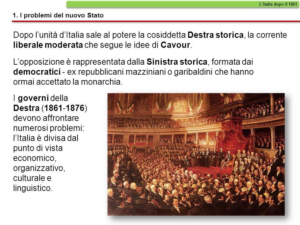L'Italia dopo il 18611. I problemi del nuovo Stato.