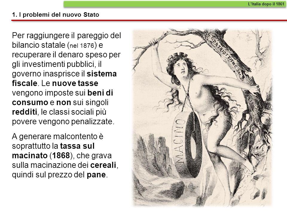 L'Italia dopo il 1861 1. I problemi del nuovo Stato.