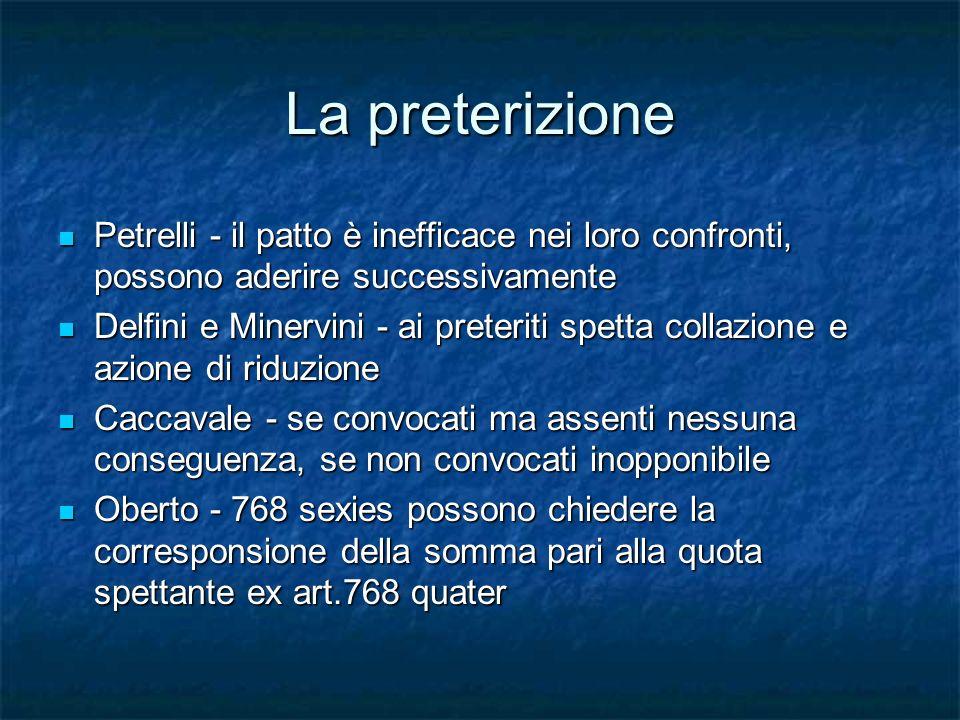 La preterizione Petrelli - il patto è inefficace nei loro confronti, possono aderire successivamente.
