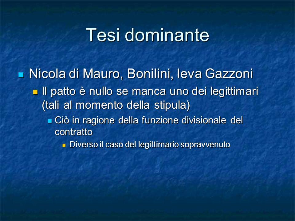 Tesi dominante Nicola di Mauro, Bonilini, Ieva Gazzoni