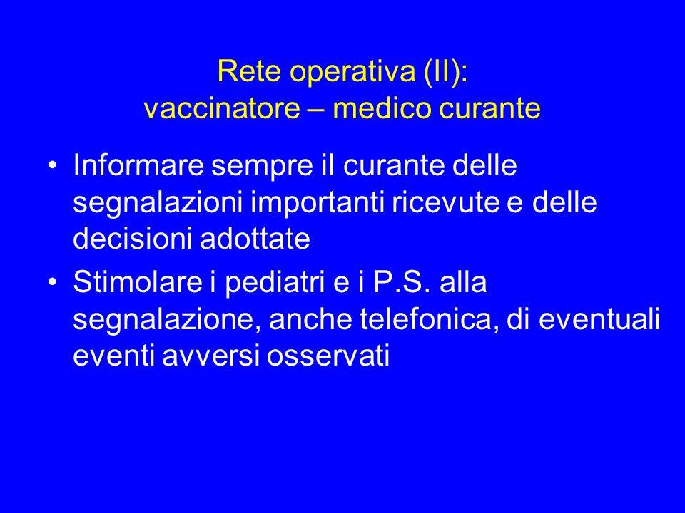 Rete operativa (II): vaccinatore – medico curante