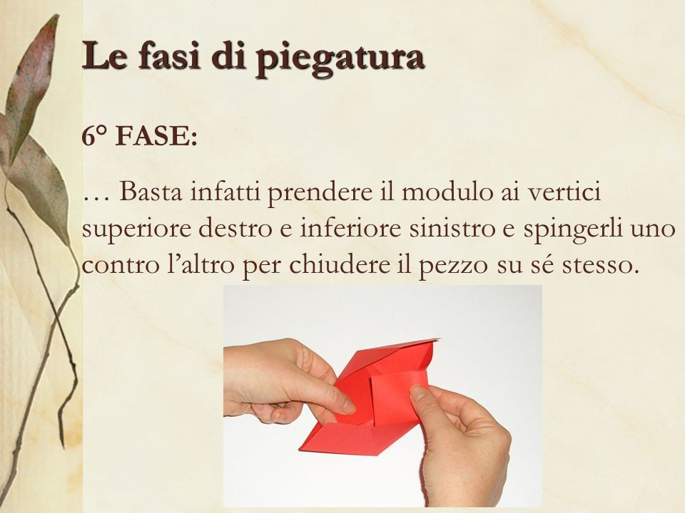 Le fasi di piegatura 6° FASE: