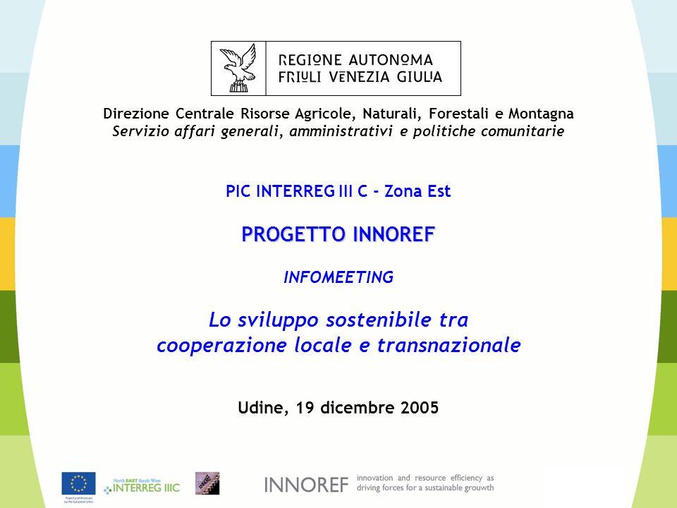 Direzione Centrale Risorse Agricole, Naturali, Forestali e Montagna Servizio affari generali, amministrativi e politiche comunitarie PIC INTERREG III C - Zona Est PROGETTO INNOREF INFOMEETING Lo sviluppo sostenibile tra cooperazione locale e transnazionale Udine, 19 dicembre 2005