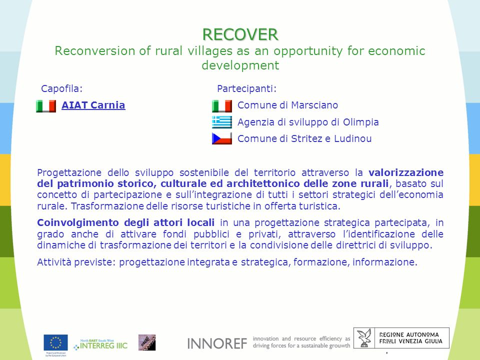 RECOVER Reconversion of rural villages as an opportunity for economic development