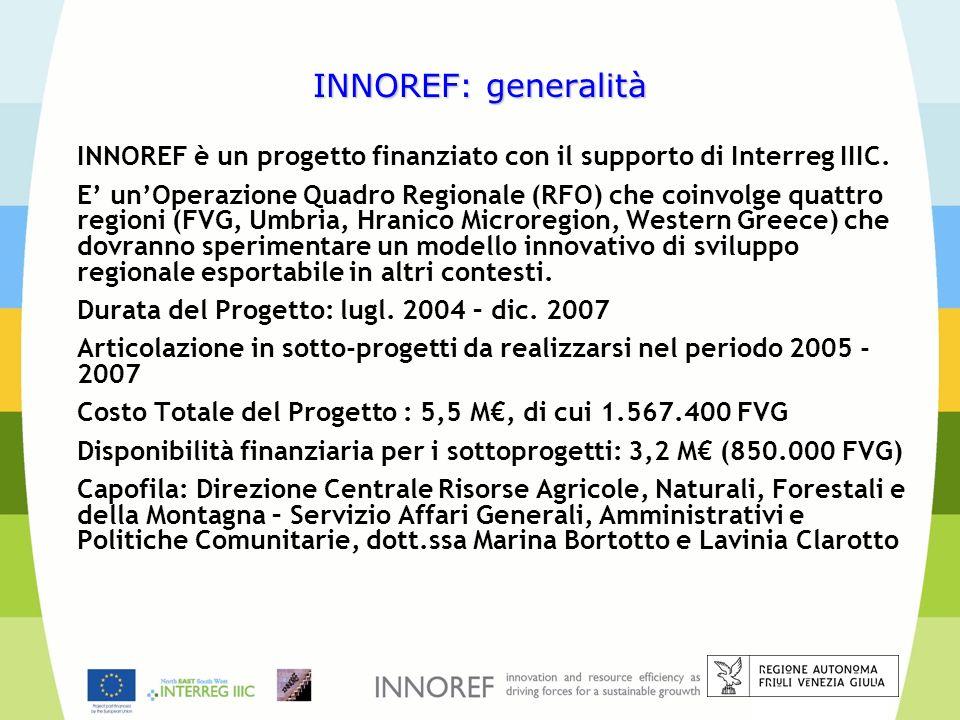 INNOREF: generalitàINNOREF è un progetto finanziato con il supporto di Interreg IIIC.