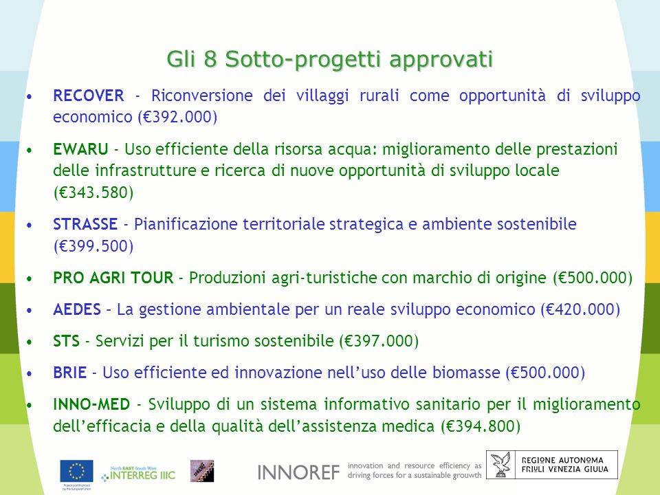Gli 8 Sotto-progetti approvati