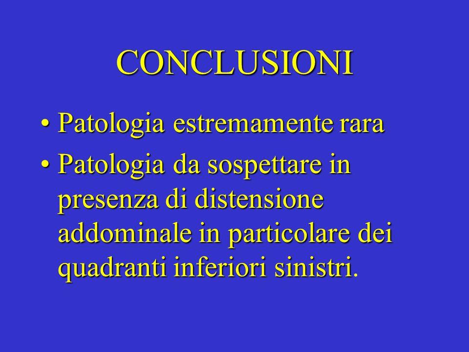 CONCLUSIONI Patologia estremamente rara