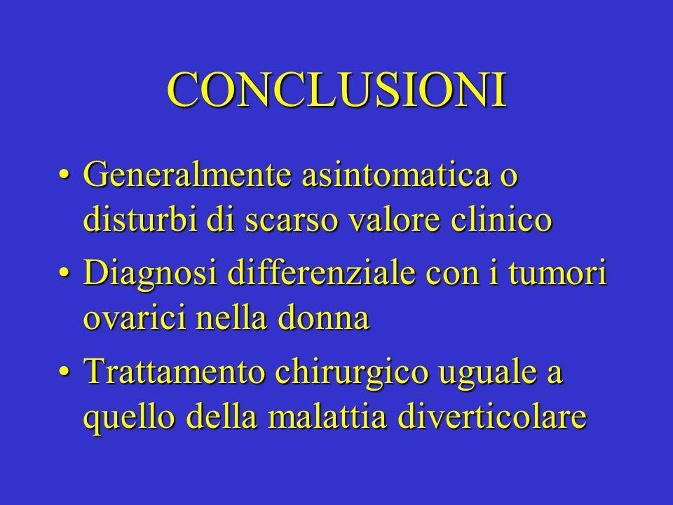 CONCLUSIONI Generalmente asintomatica o disturbi di scarso valore clinico. Diagnosi differenziale con i tumori ovarici nella donna.