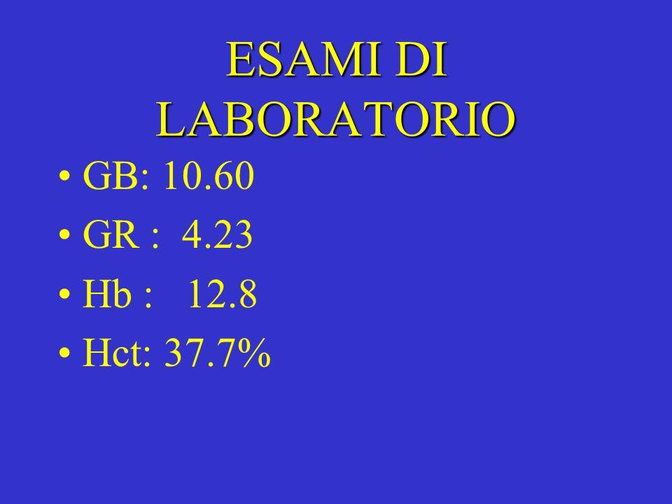 ESAMI DI LABORATORIO GB: 10.60 GR : 4.23 Hb : 12.8 Hct: 37.7%