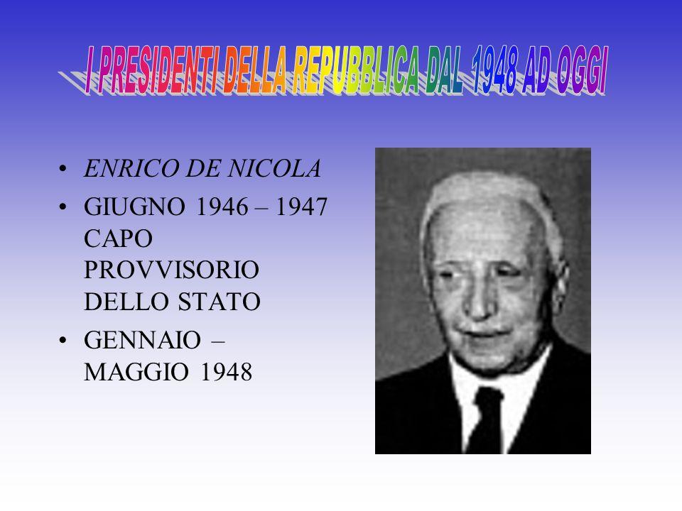 I PRESIDENTI DELLA REPUBBLICA DAL 1948 AD OGGI