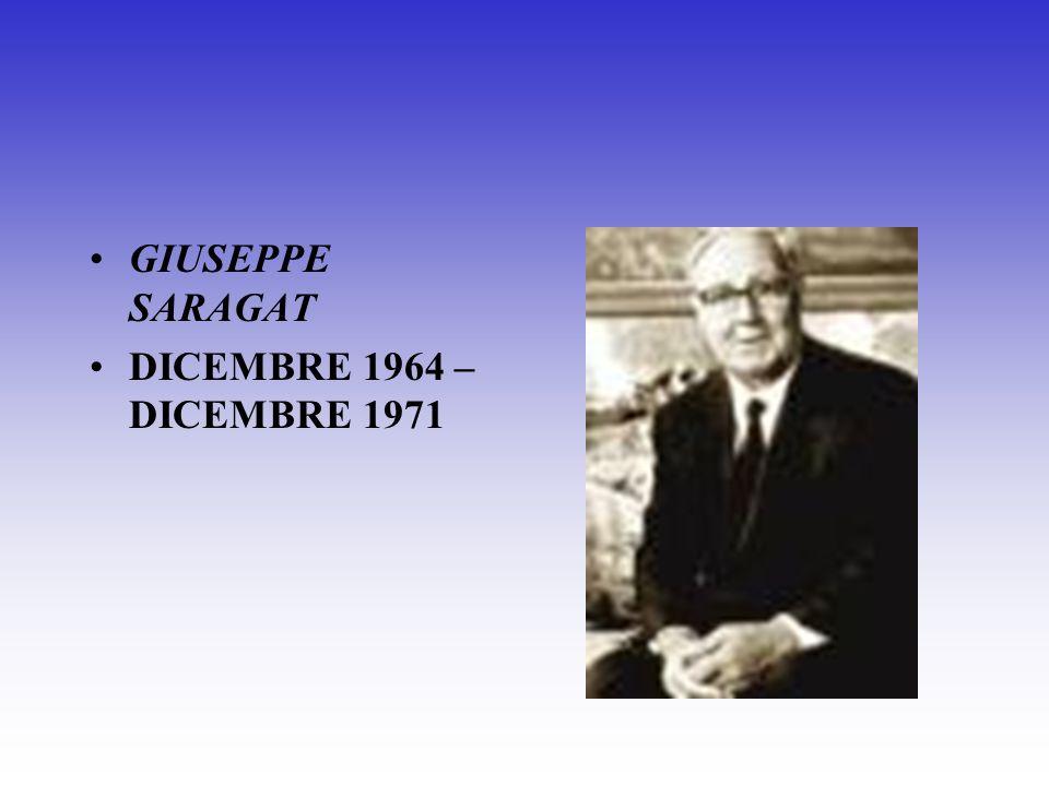 GIUSEPPE SARAGAT DICEMBRE 1964 – DICEMBRE 1971