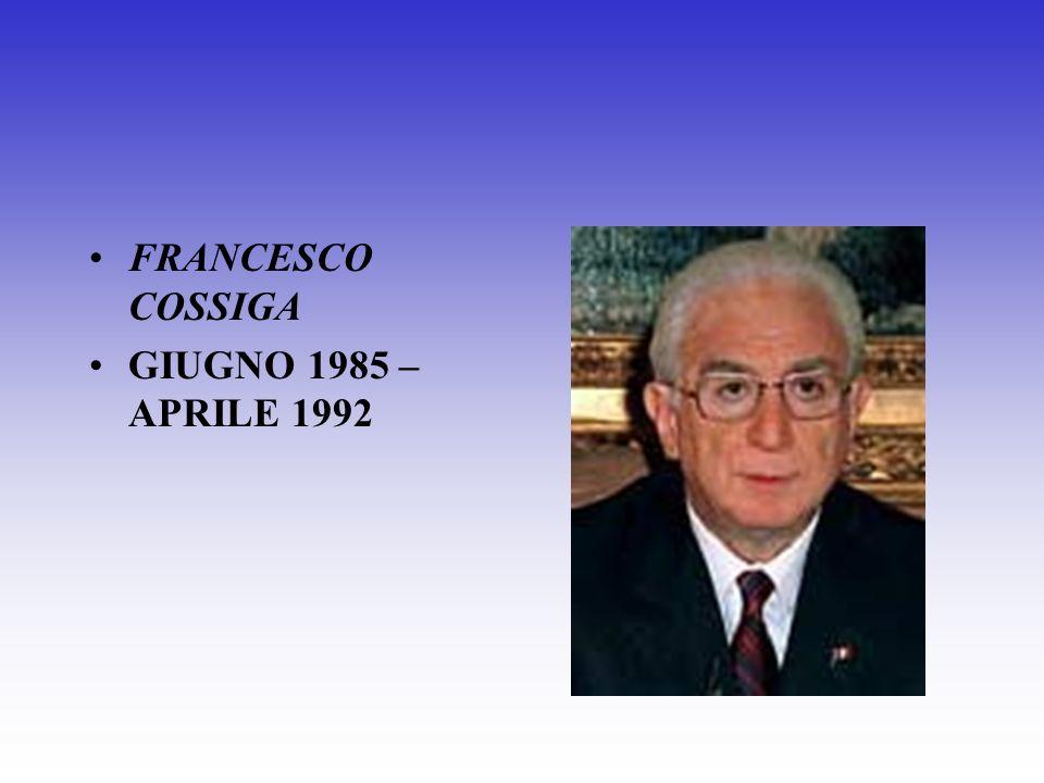 FRANCESCO COSSIGA GIUGNO 1985 – APRILE 1992