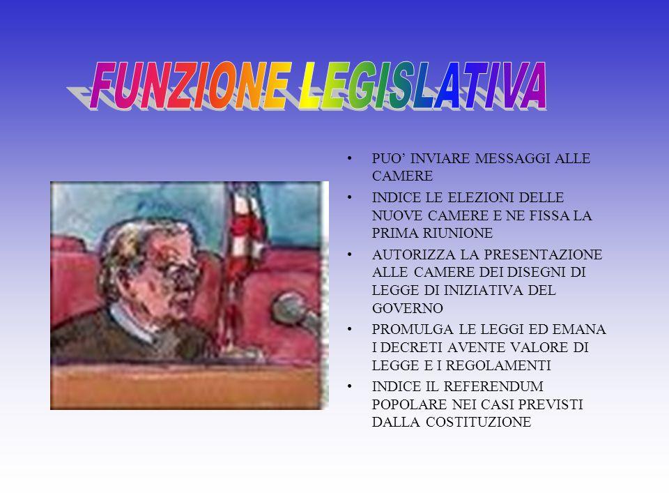 FUNZIONE LEGISLATIVA PUO' INVIARE MESSAGGI ALLE CAMERE