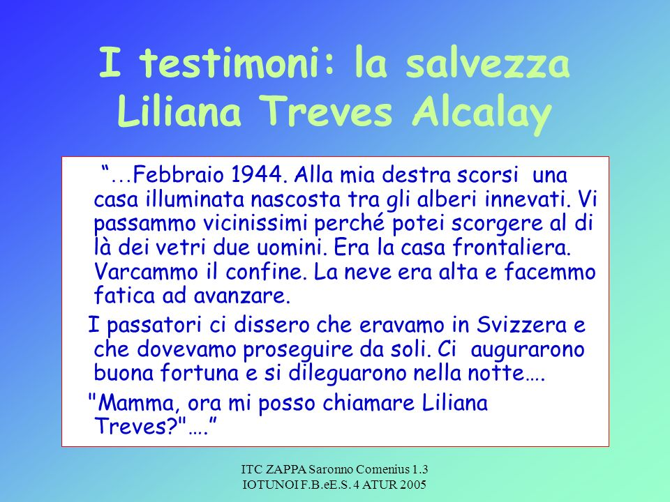 I testimoni: la salvezza Liliana Treves Alcalay