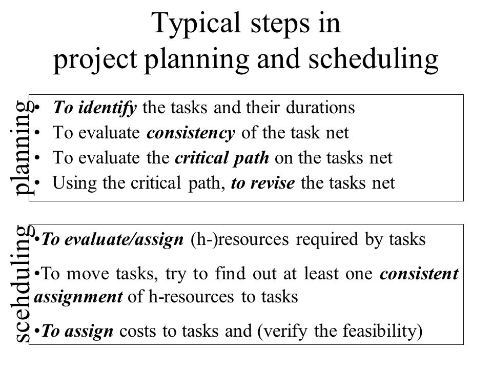 Typical steps in project planning and scheduling