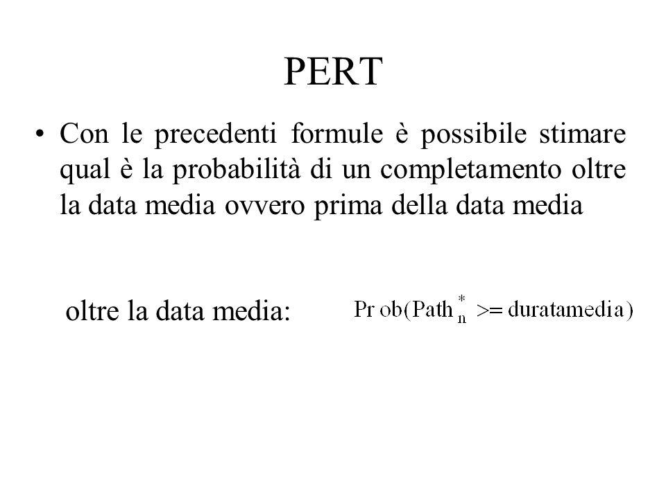PERT Con le precedenti formule è possibile stimare qual è la probabilità di un completamento oltre la data media ovvero prima della data media.
