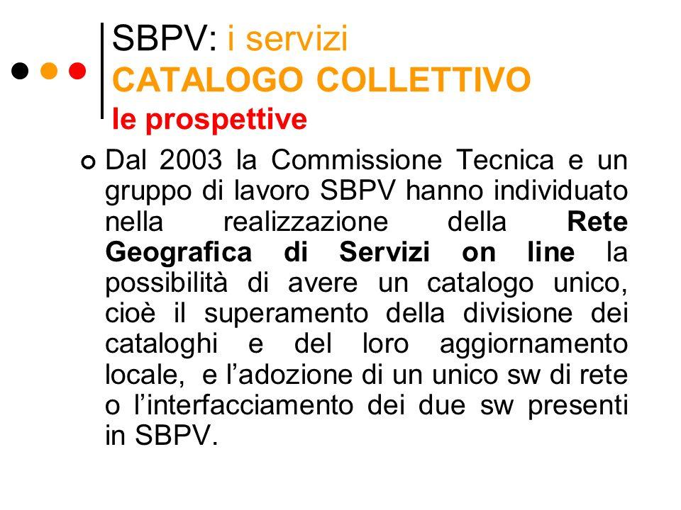 SBPV: i servizi CATALOGO COLLETTIVO le prospettive